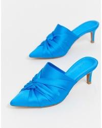 blaue Satin Pantoletten von ASOS DESIGN