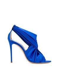 blaue Satin Sandaletten