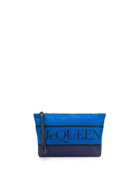 blaue Segeltuch Clutch Handtasche