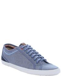 blaue Segeltuch niedrige Sneakers