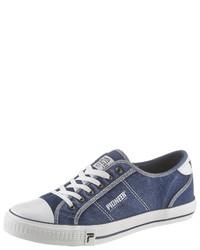 blaue Segeltuch niedrige Sneakers von Pioneer Authentic Jeans