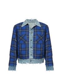 blaue Shirtjacke mit Karomuster