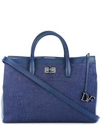 blaue Shopper Tasche aus Leder mit Reliefmuster von Diane von Furstenberg