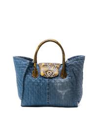 blaue Shopper Tasche aus Segeltuch mit Schlangenmuster von Ermanno Scervino