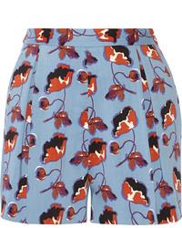 blaue Shorts mit Blumenmuster von Miu Miu