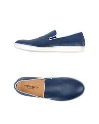 blaue Slip-On Sneakers aus Leder