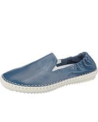 blaue Slip-On Sneakers aus Leder von camel active