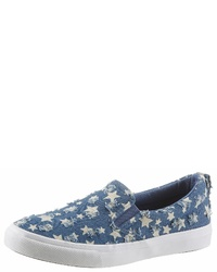 blaue Slip-On Sneakers aus Segeltuch von City Walk
