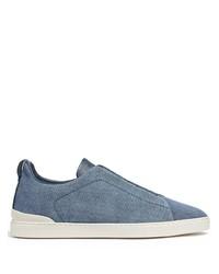 blaue Slip-On Sneakers aus Segeltuch von Ermenegildo Zegna