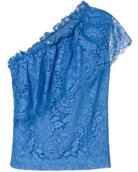 blaue Spitze Bluse von MSGM
