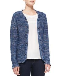 blaue Tweed-Jacke