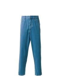blaue vertikal gestreifte Jeans