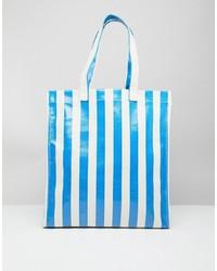 blaue vertikal gestreifte Shopper Tasche von Stradivarius