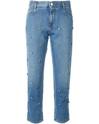 blaue verzierte Jeans
