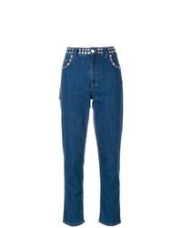 blaue verzierte Jeans von Miu Miu