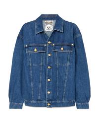 blaue verzierte Jeansjacke von Moschino