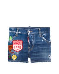 blaue verzierte Jeansshorts von Dsquared2