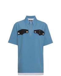blaue verzierte Kurzarmbluse von Calvin Klein 205W39nyc