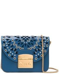 blaue verzierte Leder Umhängetasche von Furla