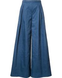blaue weite Hose aus Jeans von Carolina Herrera