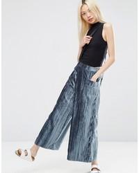 Blaue Weite Hose aus Samt von Asos