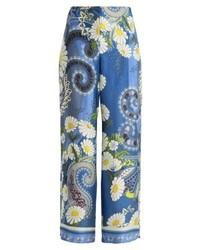 blaue weite Hose mit Paisley-Muster von Holzweiler