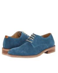 blaue Wildleder Derby Schuhe