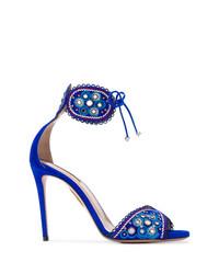 blaue Wildleder Sandaletten von Aquazzura