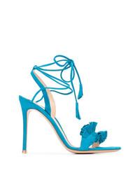 blaue Wildleder Sandaletten von Gianvito Rossi
