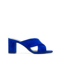 blaue Wildleder Sandaletten von Saint Laurent