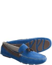 blaue Wildleder Slipper mit Quasten