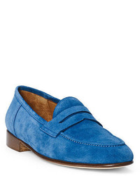 blaue Wildleder Slipper