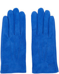 blaue Wildlederhandschuhe von Loewe