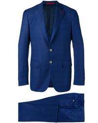 blauer Anzug mit Karomuster von Isaia