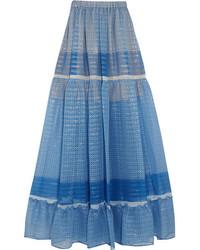 blauer bedruckter Chiffon Maxirock von Stella McCartney