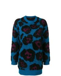 blauer bedruckter flauschiger Pullover mit einem Rundhalsausschnitt von Marc Jacobs