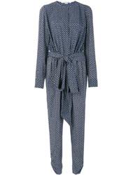 blauer bedruckter Jumpsuit aus Seide von Stella McCartney
