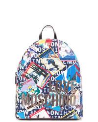 blauer bedruckter Leder Rucksack von Love Moschino