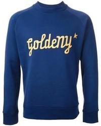 blauer bedruckter Pullover mit einem Rundhalsausschnitt