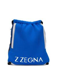 blauer bedruckter Rucksack von Z Zegna