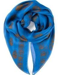 blauer bedruckter Schal von Alexander McQueen