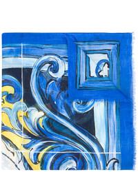 blauer bedruckter Schal von Dolce & Gabbana