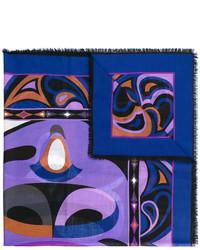 blauer bedruckter Schal von Emilio Pucci