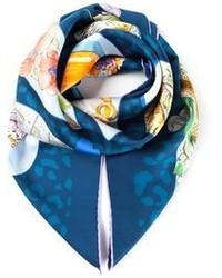 blauer bedruckter Schal von Salvatore Ferragamo
