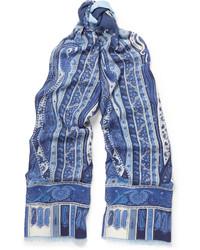 Blauer bedruckter Seideschal