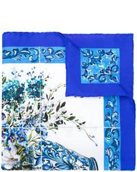 blauer bedruckter Seideschal von Dolce & Gabbana