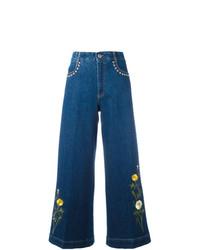 blauer bestickter Hosenrock von Stella McCartney
