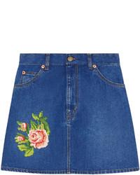 blauer bestickter Jeans Minirock von Gucci