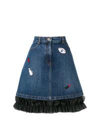 blauer bestickter Jeans Minirock von Vivetta