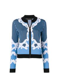 blauer bestickter Pullover mit einem Reißverschluß von Versace